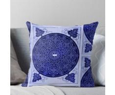 Style vintage indien abstrait ornement décoratif abstrait bleu profond - Style de ligne de Coussin
