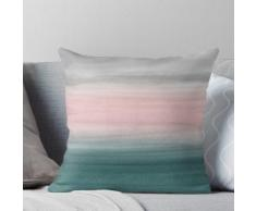 Toucher de sarcelle blush gris abstrait aquarelle # 1 #painting #decor #art Coussin