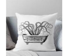 Tentacules dans la baignoire | Pieuvre dans la baignoire | Pieuvre Vintage | Noir et blanc | Coussin