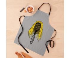 Tête de fouet de cuisine avec cheveux blonds Tablier