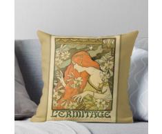 Art nouveau antique, préraphaélite, botanique, affiche d'art décoratif Coussin