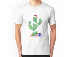 Cadeaux drôles décorés de désert de sapin de Noël de cactus T-shirt ajusté