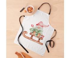 Gnome de Noël avec traîneau et aquarelle de sapin Tablier