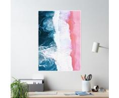 Plage aérienne, vagues de l'océan Poster