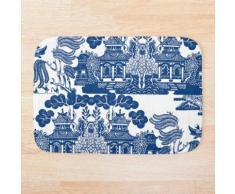 Saule Bleu Chinoiserie Inspiration En Porcelaine Bleue Et Blanche Tapis de bain