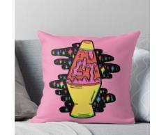 Lampe de lave éclairée en rose en 3D Coussin