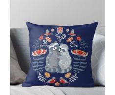 Ratons laveurs, oiseaux, fleurs. Ornement décoratif. Art folklorique. Coussin
