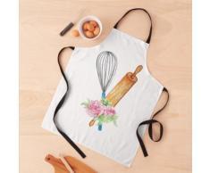 Fouet en métal et rouleau à pâtisserie en bois avec un motif de fleur Tablier