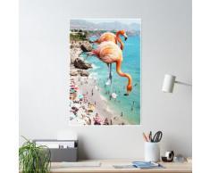 Flamants roses sur la plage #redbubble #decor Poster