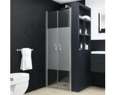 vidaXL Portes de cabine de douche ESG demi-dépoli 75x185 cm
