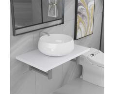 vidaXL Meuble de salle de bain en deux pièces Céramique Blanc