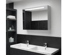 vidaXL Armoire de salle de bain à miroir LED 88x13x62 cm