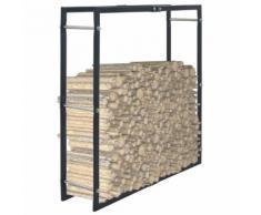 vidaXL Portant de bois de chauffage Noir 100x25x100 cm Acier