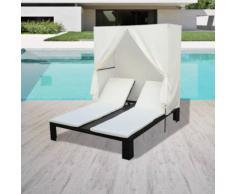 vidaXL Chaise longue double avec rideau Résine tressée Noir