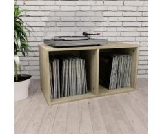 vidaXL Boîte de rangement de vinyles Chêne sonoma 71x34x36cm Aggloméré