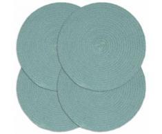 vidaXL Napperons 4 pcs Vert Plain 38 cm Rond Coton
