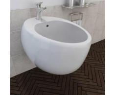 vidaXL Bidet suspendu en céramique sanitaire blanc