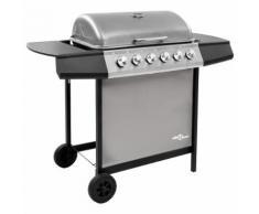 vidaXL Barbecue gril à gaz avec 6 brûleurs Noir et argenté