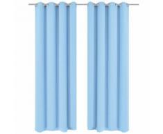 vidaXL Rideau avec œillets métalliques 2 pcs 135 x 175 cm Turquoise