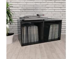vidaXL Boîte de rangement de vinyles Noir brillant 71x34x36 cm