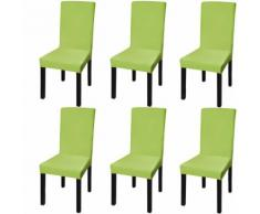 vidaXL Housse de chaise droite extensible 6 pcs vert