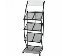 vidaXL Porte-revue 47 x 40 x 134 cm Noir et blanc A4