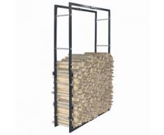 vidaXL Portant de bois de chauffage Noir 80x25x150 cm Acier