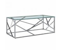 vidaXL Table basse Transparent 120x60x40 cm Verre trempé et inox