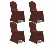 vidaXL Housse de chaise extensible 4 pcs marron