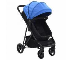 vidaXL Poussette/Landau bébé 2-en-1 Bleu et noir Acier