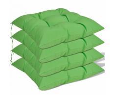 vidaXL Coussin de chaise 4 pcs 40 x 40 x 8 cm Vert