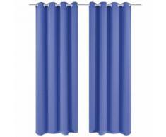 vidaXL Rideau avec œillets métalliques 2 pcs 135 x 175 cm Bleu