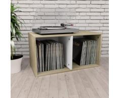 vidaXL Boîte de rangement de vinyles Blanc et Chêne sonoma 71x34x36cm
