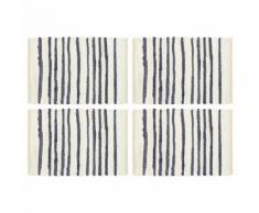 vidaXL Napperons 4 pcs Bleu et blanc 30 x 45 cm Coton