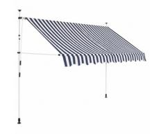 vidaXL Auvent rétractable manuel 250 cm Rayures bleues et blanches