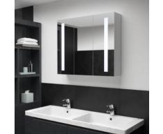 vidaXL Armoire de salle de bain à miroir LED 89x14x62 cm