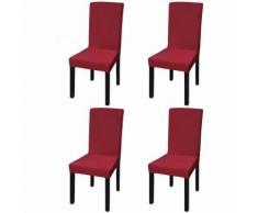 vidaXL Housse de chaise droite extensible 4 pcs Bordeaux