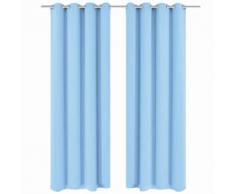 vidaXL Rideau avec œillets métalliques 2 pcs 135 x 245 cm Turquoise
