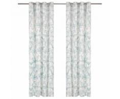 vidaXL Rideaux avec anneaux en métal 2 pcs Coton 140x225cm Vert Floral