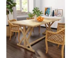 vidaXL Table de salle à manger Bois de teck massif 180 x 90 x 75 cm