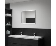 vidaXL Miroir mural à LED de salle de bain et capteur tactile 60x50 cm