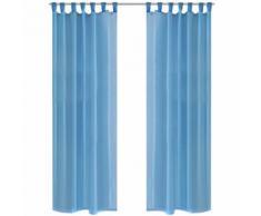 vidaXL Rideau transparent turquoise 140 x 175 cm 2 pcs