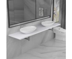 vidaXL Meuble de salle de bain à 3 pcs Céramique Blanc