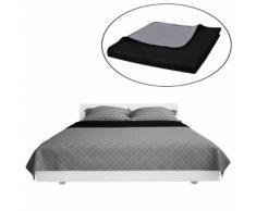 vidaXL Couvre-lits à double côtés Noir/Gris 230 x 260 cm
