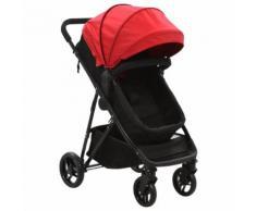 vidaXL Poussette/Landau bébé 2-en-1 Rouge et noir Acier