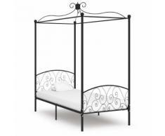vidaXL Cadre de lit à baldaquin Noir Métal 90 x 200 cm