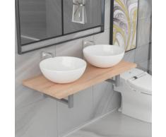 vidaXL Meuble de salle de bain à 3 pcs Céramique Chêne