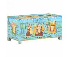 vidaXL Boîte de rangement peinte à la main 80x40x40cm Bois de manguier