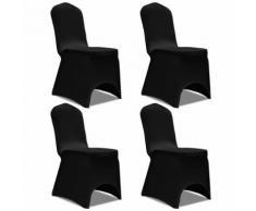 vidaXL Housse de chaise extensible 4 pcs Noir