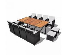 vidaXL Salon de jardin encastrable 13 pcs Rotin et bois d'acacia Noir
